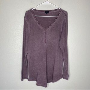 Torrid Waffle V Neck Button Front Long Sleeve Top